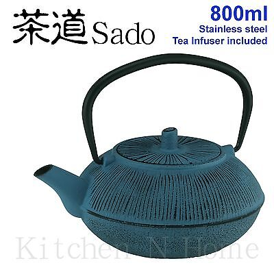 Cast Iron Teapot, Japanese style, 800ml -Sea Blue,Stainless Tea infuser included