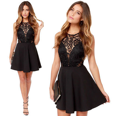 Women Summer Casual Backless Prom Evening Party Cocktail Lace Short Mini Dress