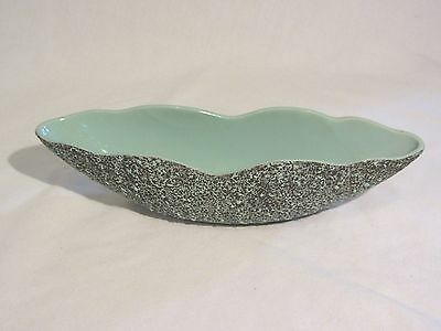 "Vintage Shawnee Kenwood Ceramic Black & Teal Speckled 11"" Planter Pottery Dish"
