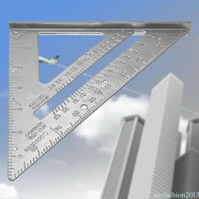 "Aluminum Alloy Tri Square Speed 7"" Triangle Ruler Protractor Miter Framing QP9"