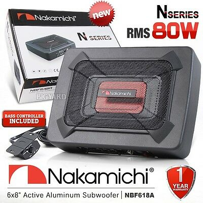 """NAKAMICHI NBF618A 6x8"""" Car Underseat Active Subwoofer 80W w/ Built In Amplifier"""