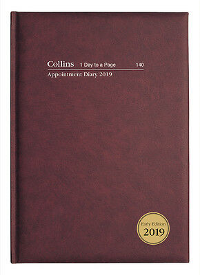 Diary 2019 Collins Appointment A4 Burgundy Day to a Page 140.P78-19 30x22cm