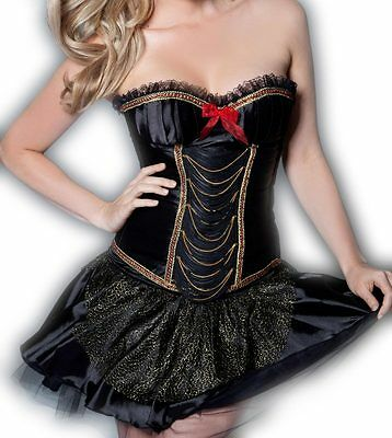 New Lace Up Bustier Corset ruffled underwired padded cups, with skirt size S M