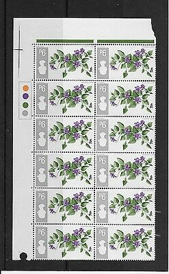 1967 Gb Commemoratives Flowers Inverted Watermark Traffic Light Block Of 12 Mnh