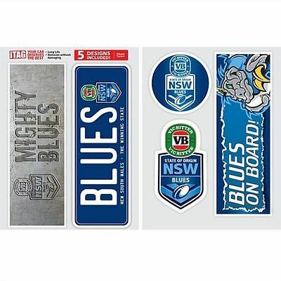 Official NSW Blues State of Origin NRL iTag Car Bumper Decal Sticker (5 Pack)