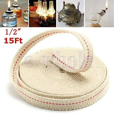 "1/2"" Flat Cotton Oil Lamp Wick 15foot Roll For Oil Lamps and Lanterns BE"