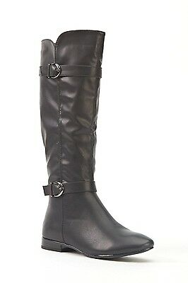 Womens Ladies Black Faux Leather Low Block Heel Knee High Boots Size 4,5,6,8 New