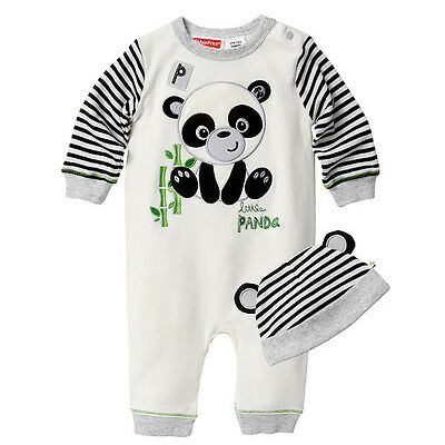NWT Fisher Price Baby Girls Boys Panda Romper Coverall with Hat Size 000