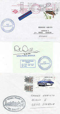 Bahamas Cruise Ship Ms Saga Pearl 2 Ships Cached Covers & A Master Signed Piece