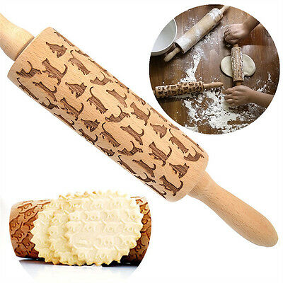 43CM Wooden Handle Decorating Rolling Pin Kitchen Fondant Cake Pastry Dough Tool