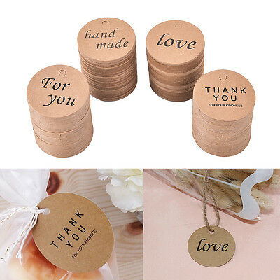 100 Round Kraft Paper Tags Gift Price Craft Card Name DIY Tags Wedding Favor&