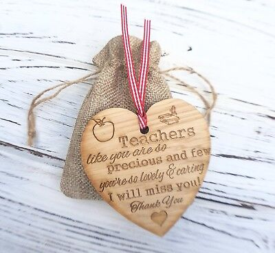 Teachers Gift Heart Thank You Plaque Precious Wooden Hanging Heart Shabby Chic