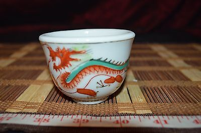 "Asian Porcelain Tea Cup With Red Dragon Design 2 1/8""x2 7/8"""
