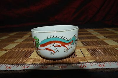 "Asian Porcelain Great China Tea Cup With Red Dragon Design 3""x1 7/8"""