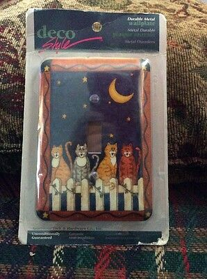 Vintage New In Package Light Switch Wall Plate Cats Fence Moon Deco Style Metal