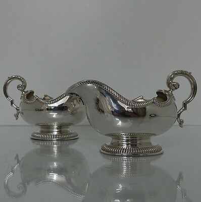 Early 20th Century George V Antique Sterling Silver Pair of Sauce Boats London
