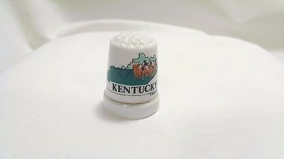 Kentucky Derby Thimble MAFCO Gold Band Porcelain