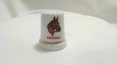 Kentucky Derby Horse Thimble State Gold Band Porcelain