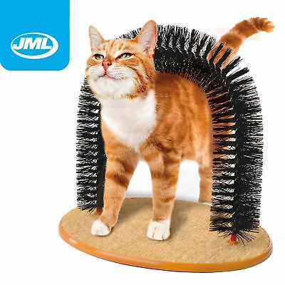JML Purrfect Arch Cat Self Groomer Massager Scratching Bristles Post Catnip Toy