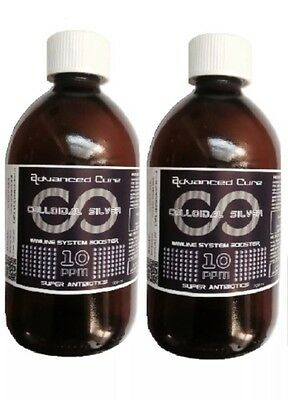 (2 X 500ml) UK BEST High Voltage Colloidal Silver 10ppm (BEST QUALITY)