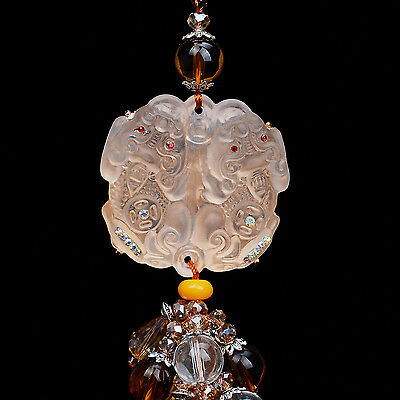Chinese Pi Xiu Yao Lion Foo Dog Ancient Colored Glaze Crystal Liuli Car Pendant