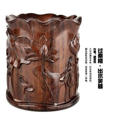 Chinese Ebony Wood Hand Carving Lotus Delicate Sculpture Pen Brush Holder Pot