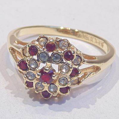 Vintage red white rhinestone gold plated cocktail ring, size 8, 3D flower like