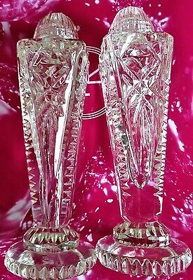 "Antique C1900 Salt & Pepper Shakers ""block Cut"" Crystal W Cut Crystal Tops Mint"