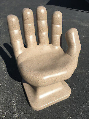 "GIANT faux Granite Tan HAND SHAPED CHAIR 32"" adult 70's Retro EAMES iCarly NEW"