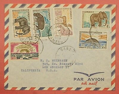 1963 Cameroun Cameroon Garoua Cancel Multi Franked Airmail Cover To Usa