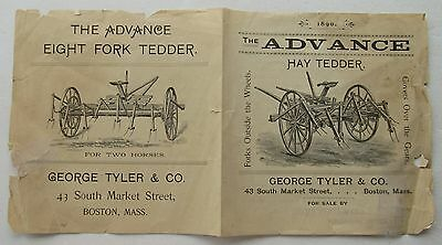 Flyer  For The Advance Hay Tedder 1890