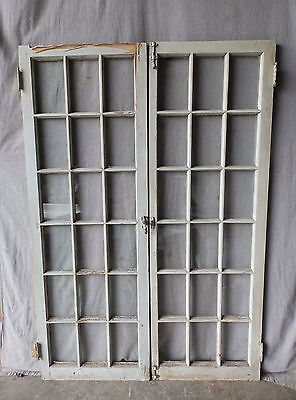 Antique French Door Window Cabinet Cupboard Casement Vintage Shabby 62x22 79-17P