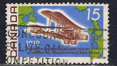 Canada #494(1) 1969 15 cent Vickers Vimy, & Map of Atlantic Used CV$2.00