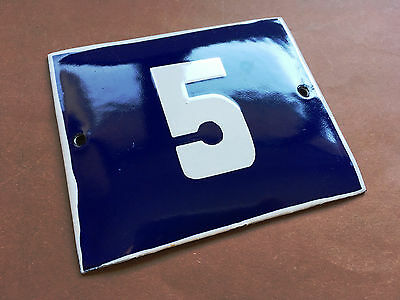 ANTIQUE VINTAGE ENAMEL SIGN HOUSE NUMBER 5 BLUE DOOR GATE STREET SIGN 1950's