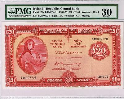 Ireland, 20 Pounds Banknote 1972, P-67b, PMG 30.