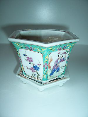 Orienatal Porcelain Planter Antique China Hexagon Shape