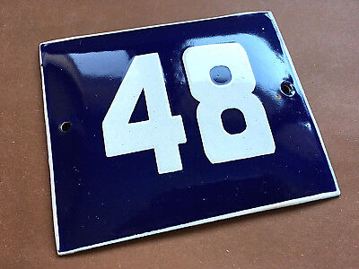 ANTIQUE VINTAGE ENAMEL SIGN HOUSE NUMBER 48 BLUE DOOR GATE STREET SIGN 1950's