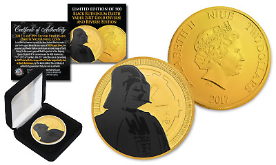 2017 NIUE 1oz Silver STAR WARS Coin 24K Gold Clad & BLACK RUTHENIUM DARTH VADER