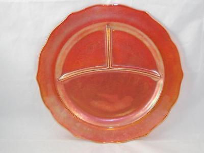 Depression Glass Amber Sunburst Carnival Normandie Lattice 3-part Grill Plate