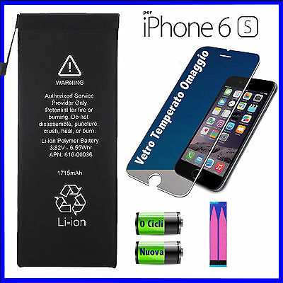 BATTERIA NUOVA PER APPLE IPHONE 6S 1715 mAh CAPACITA ORIGINALE + VETRO