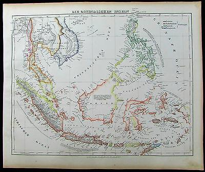 East Indies Philippines Indonesia Siam 1852 Flemming old antique color map