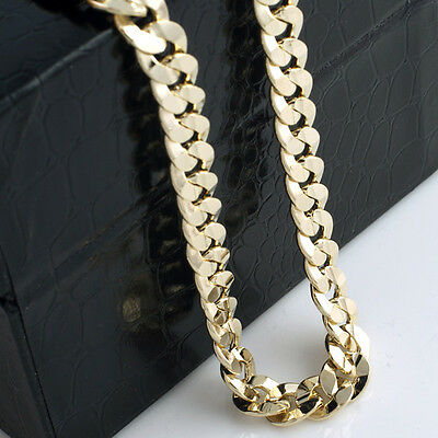 Mens 24k Yellow Gold Plated 24in Italian Cuban Chain Necklace 10 MM