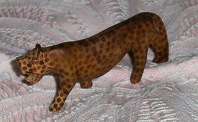 Vtg Wooden Leopard Figurine Miniature Carved Painted Jungle Leopard Cat Statue