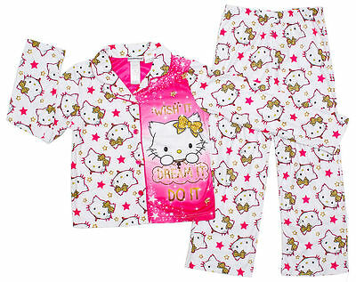 New 2~16 Kids Pyjamas Winter Girls Sleepwear Nightie Tee Top Pj Pjs Hello Kitty