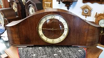 German Art Deco English Walnut Westminster Chime Mantel Clock