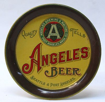 pre 1913 ANGELES BEER Brewing Seattle Port Angeles Washington tin litho tip tray