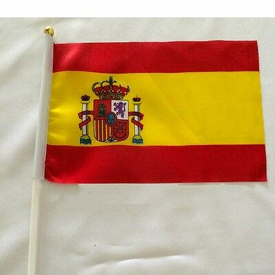 Spain Held Stick Small FLAGS Hand Table Flag Festivals Country España Lots 5pcs