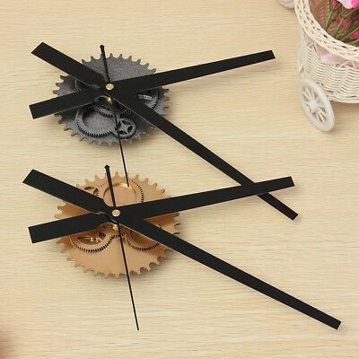Gold 3D Vintage DIY Mechanism Retro Gear Large Hand Wall Clock Home Decor Mute
