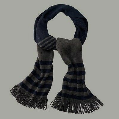 "NEW men APT 9 acrylic RASCHEL SCARF blk STRIPED grey 10"" W x 65"" L knit STYLISH"