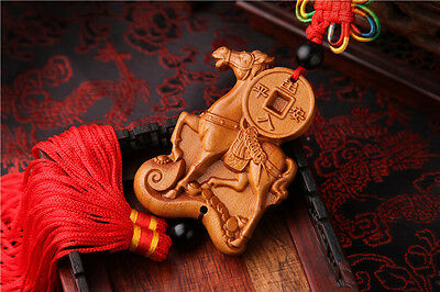 Jujube Wood Carving Red Chinese Horse Success Statue Sculpture Car Pendant 马到成功